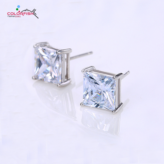 Colorfish Square Stud Earrings For Women Men Luxury 2 Carat Sparkling 925 Sterling Silver Push
