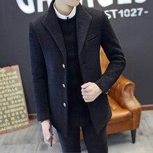 New woolen coat men's short section Slim autumn and winter models thick windbreaker Korean youth handsome jacket trend