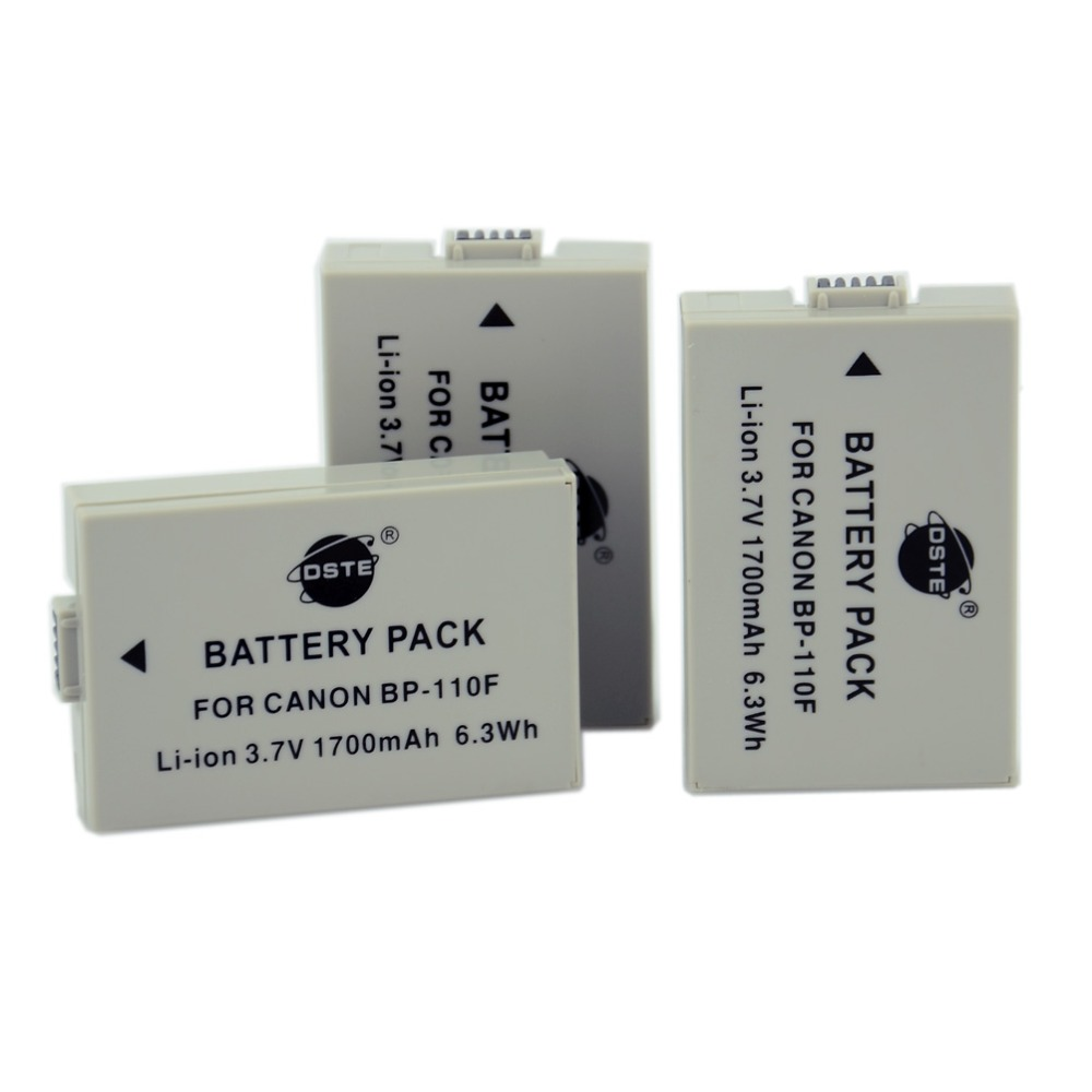 DSTE 3pcs BP-110F Rechargeable Battery for Canon HF R26 R28 R206 R20 R21 R200 XF105 DSLR Camera high quality 1pcs battery bp u60 bp u60 rechargeable camera battery for sony bateria