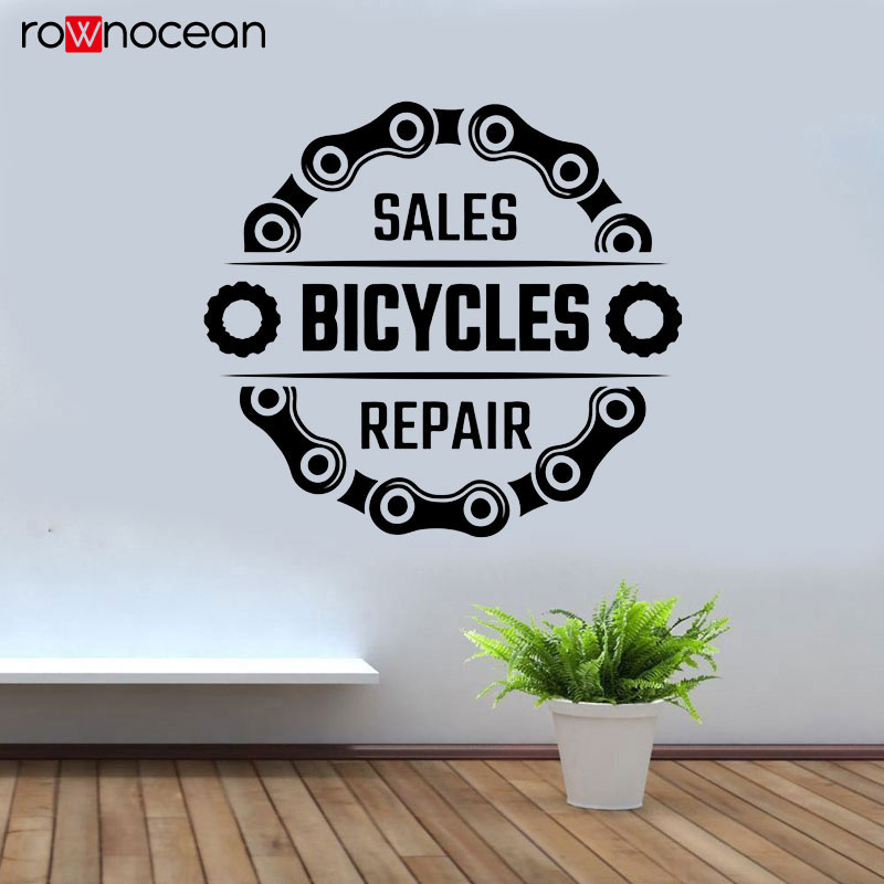 Bicycle Shop Wall Sticker Sales Bicycles Repair Quote Vinyl Window Decals Freestyle Dirt Bike Chain Decor Interior Mural 3396 in Wall Stickers from Home Garden