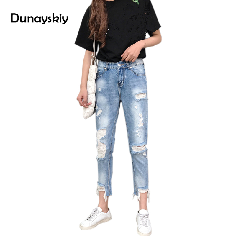 Spring Summer Cotton Jeans Women Loose High Waist Mom Jeans Washed Vintage Big Hole Ripped Jeans Denim Pants Trousers  Dunayskiy autumn new fashion cotton jeans women loose low waist washed vintage big hole ripped long denim pencil pants casual girl pants