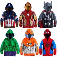 Super Héroes niños sudaderas ropa dibujos animados Moletom Infantil vengadores Spider Man Boys camisetas chico s Hoodie chico