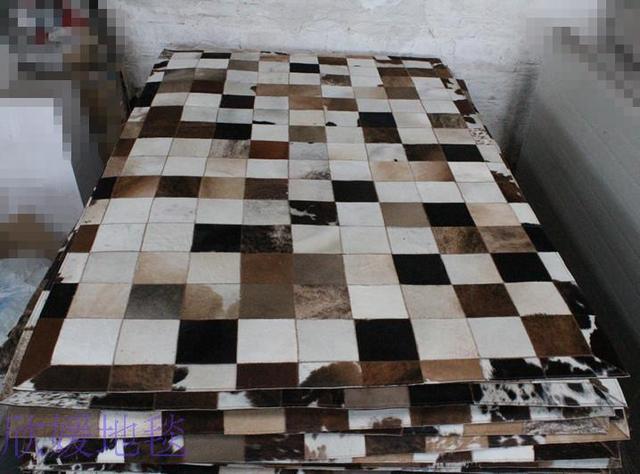 2018 consegna gratuita 100% patch in pelle di mucca naturale tappeto ...
