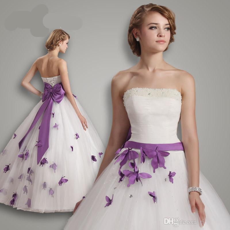 US $174.9 |2017 Princess Wedding Dresses Purple And White Butterfly Plus  Size Custom Made Ball Gown Strapless Beaded Lace up Back 9231759-in Wedding  ...