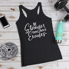 Women Slouchy Racerback Gym Workout Vest Shirt Casual Summer Sleeveless Tanks Be Stronger Than Your Excuses Tank Tops