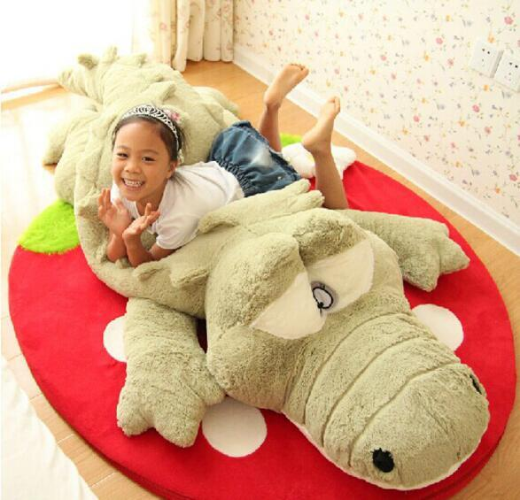 Plush Toy Gray Green Crocodile Soft Sleep Pillow Baby Crib Foldable Cushion Stuffed Baby ...