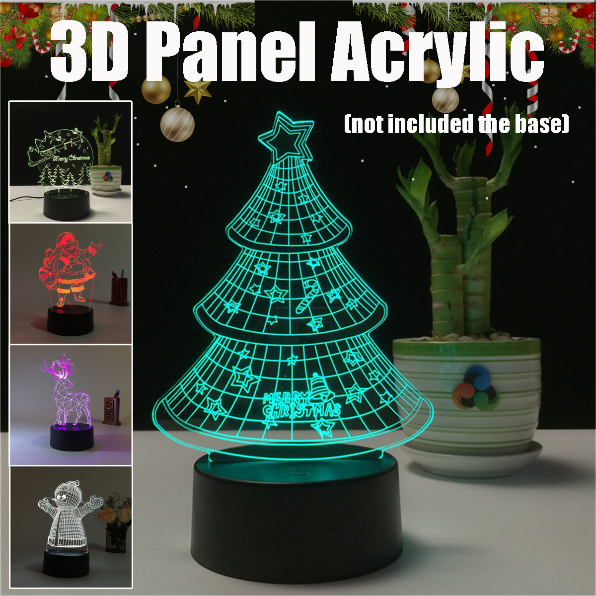 7 Color Acrylic 3D Night Light Merry Christmas Snowman Santa Christmas Tree Elk LED Light Decor For Bedroom Touchs Switch Lamp