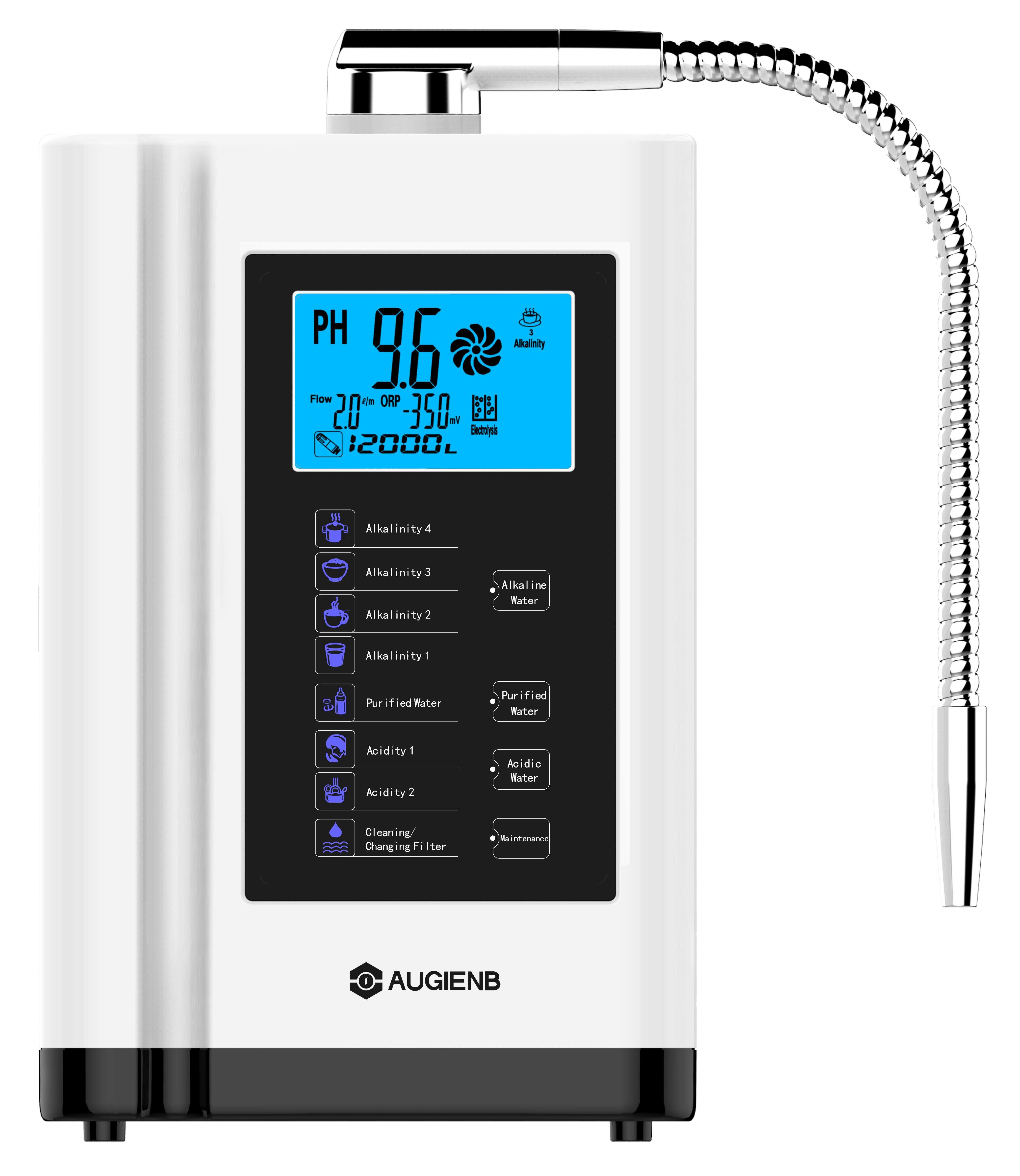 Augienb LCD Touch Control PH3.5-10.5 ácido alcalino máquina 6000L filtro de agua Auto-limpieza ionizador purificador de agua