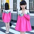 Vestido 2017 de Moda de nova Marca Do Bebê Meninas Primavera Outono Sólidos Crianças Algodão Roupas Casuais Longo-luvas Meninas A Linha Hot venda
