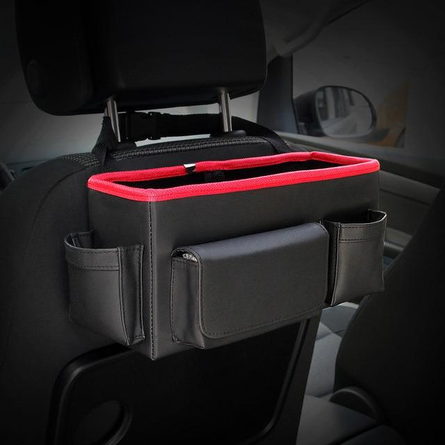Car Backseat Folding Portable Storage Box Multi Use Auto Seat Back Organizer Leather Interior Accessories Organizers Trunk