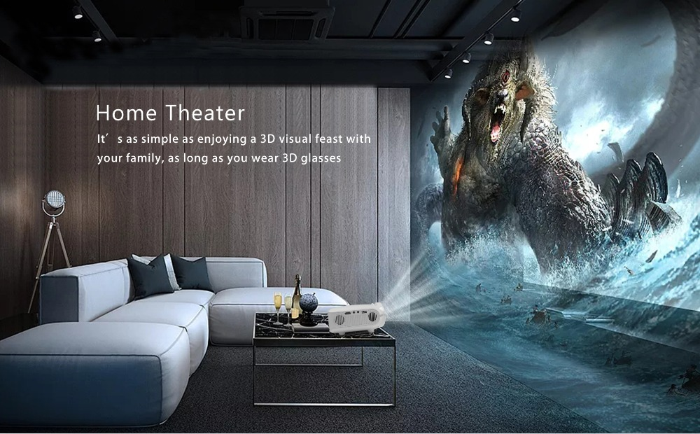 CRENOVA Newest Android Projector 3200 Lumens Android 7.1.2 OS Home Theater Movie Projector For Full HD 1080p Wifi Bluetooth 16