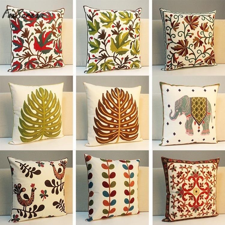 European Embroidered Cushions Luxury Decorative Throw Pillows Sofa Home  Decor Funda Cojines Decorativos