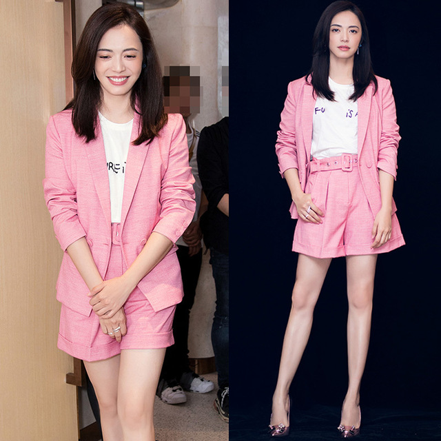 Yao Chen's Same Pink Cotton Hemp Suit Is Thin Casual Boyama's Small  Shorts Suit Fashion Sexy Collage Urban Leisure Nine Points