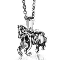 2015 New Fashion 2 7 3 3cm Horse Pendant Necklace 316L Stainless Steel Animal Necklace For