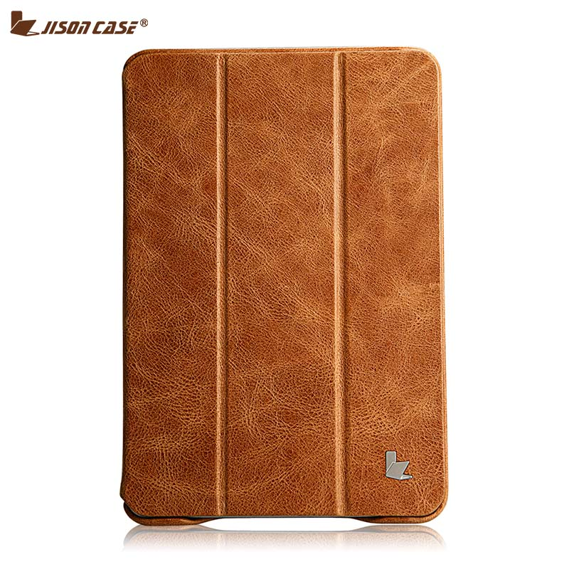 Jisoncase Luxury Genuine Leather Case For iPad mini 2 3 Thin Kickstand Folio Flip Smart Cover for iPad mini 1 2 3 Cases Shell