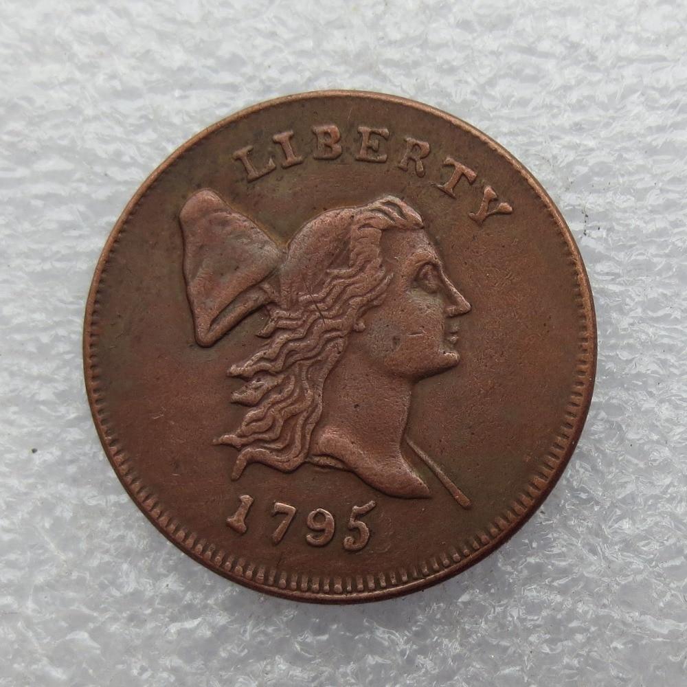 1795 LIBERTY CAP HALF CENT - FÉNYSZERŰ érmék másolják A rézgyártást régi, ingyenes szállítás