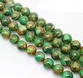"""Venta al por mayor de la alta calidad verde Multi-Color Natural Cloisonne Jasper cuentas de piedras redondas 15 """" 4 / 6 / 8 / 10 mm"""