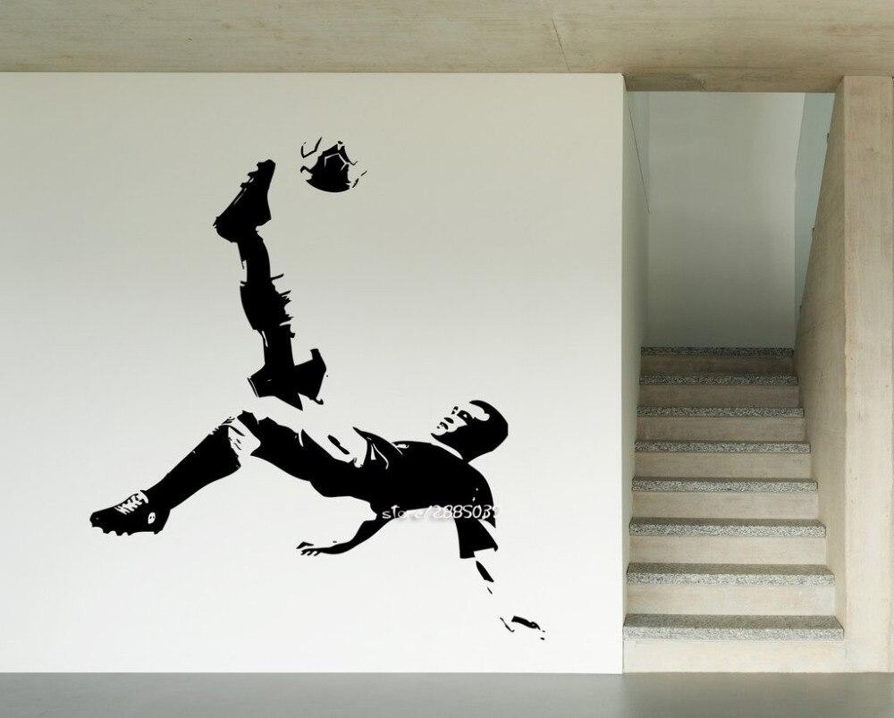 Voetbal Speler Vinyl Muurstickers Sport Bal Sport Decor GYM Muurtattoo Artistieke Ontwerp Behang Perfecte Kwaliteit Muurschildering SA816