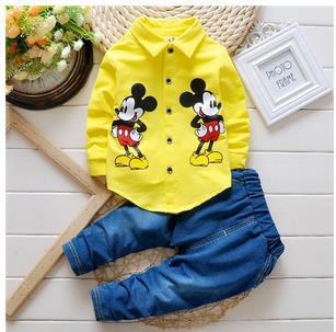 2017 Spring and Autumn New Kids Boy Minnie Clothing Set Cartoon Long Sleeved Shirt + Jeans Suit Children baby Boys Clothes Sets baby boys clothing set boy long sleeve t shirt and cowboy autumn winter fashion clothing sets 2017 new arrival hot sell sets