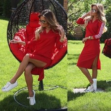 Women Fashion Dresses Spring Autumn 2018 Red Long Sleeve Side Spilt  Dress Casual Clothes For Full Women