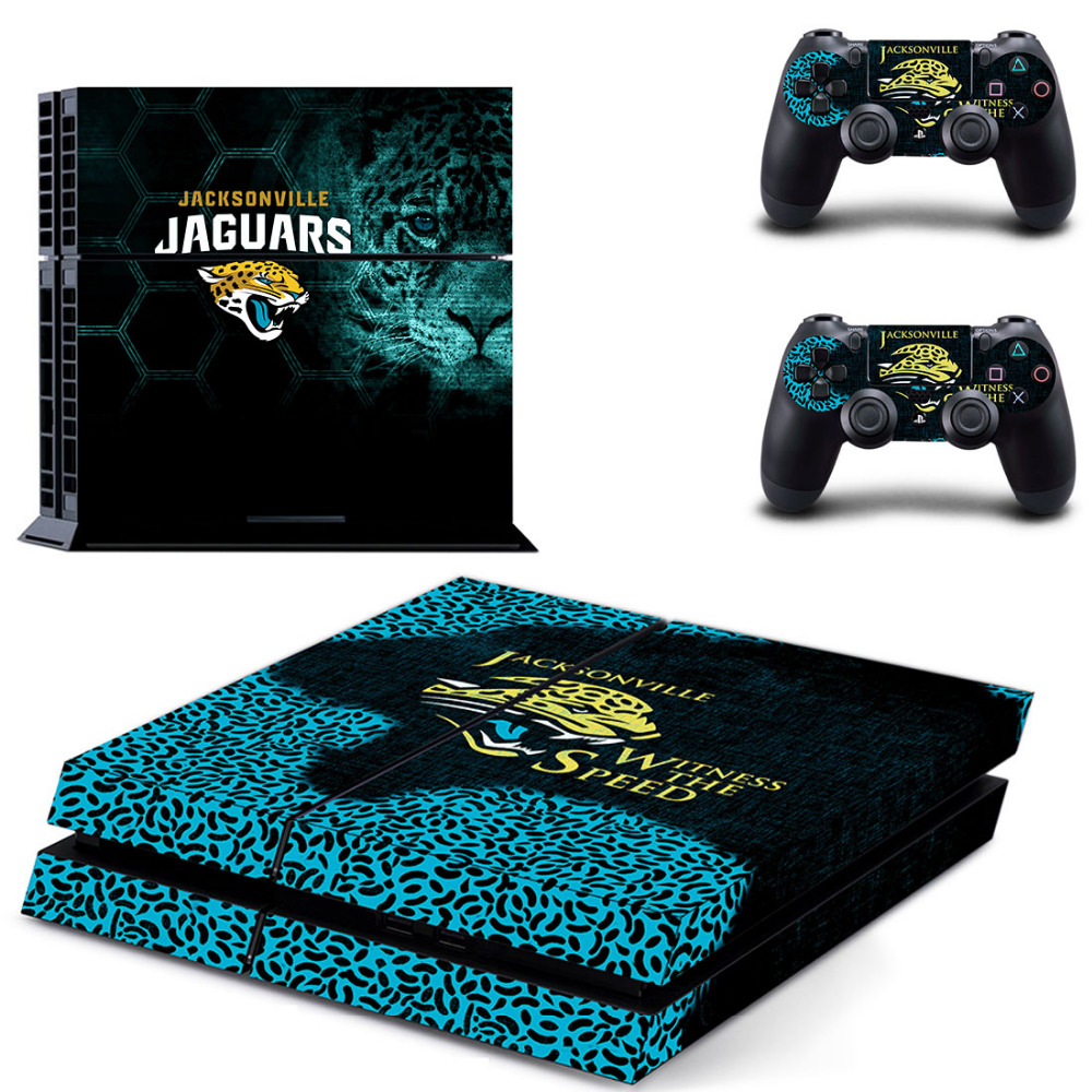 NFL Jacksonville Jaguars PS4 Skin Sticker Decal Vinyl For Sony PS4 PlayStation 4 Console and 2