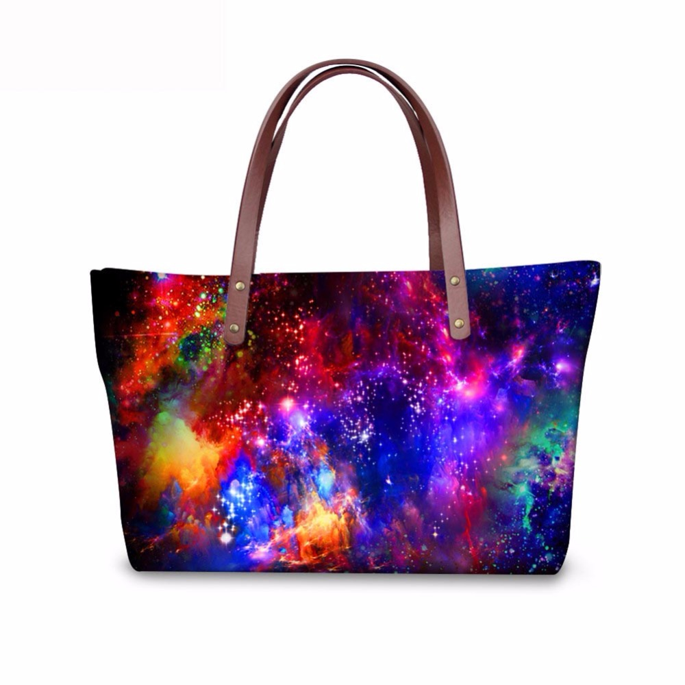Noisydesigns Starry Sky purple Pattern Shoulder Bag Big gorjuss bag Women Hand Bag Beach Totes Travel Tote Sac a main Wholesale