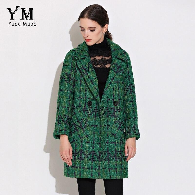 bcde4d142d5 Yuomuoo abrigo de lana de alta calidad para mujer chaqueta de Tweed  medio-largo moda femenina abrigo verde marca chaqueta de mujer