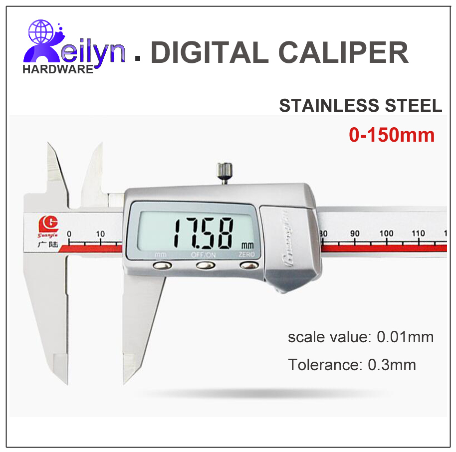 Digital caliper Vernier caliper Stainless steel  0-150mm scale value 0.01mm diameter depth thickness measuring instrument authentic constant vernier caliper 0 100 mm diameter diameter silver dollar jade depth measurement accuracy of 0 02