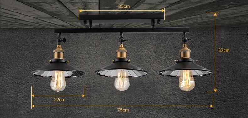 Moda vintage potkrovlje željezo stropna svjetiljka rasvjetni ormar - Unutarnja rasvjeta - Foto 5