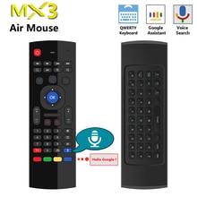 MX3 קול שליטה אלחוטי אוויר עכבר מקלדת 2.4G RF ג יירו חיישן חכם שלט רחוק עבור X96 H96 אנדרואיד טלוויזיה תיבת מיני מחשב vs G10