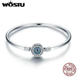 WOSTU 100% 925 Sterling Silver The Eye Of Samsara Bangle For Women Fit DIY Charm Bracelets Fashion Jewelry CQB012