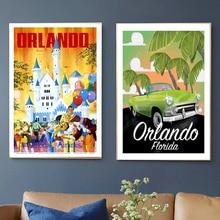 Florida Miami Beach Orlando City viajes lienzo pinturas pared vintage Kraft carteles recubiertos pegatinas de pared decoración del hogar foto regalo