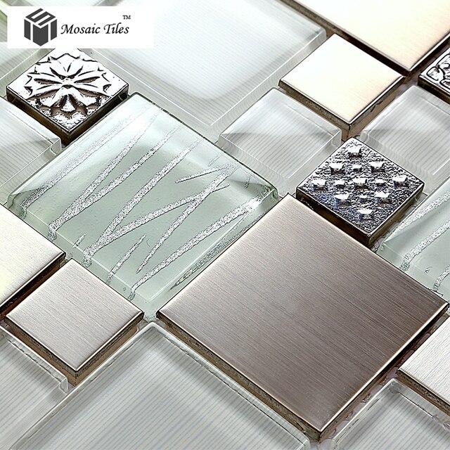 11 Pieces/lot Glass Tile Stainless Steel Silver Mosaics Floral Kitchen  Backsplash Tile Deco Mesh