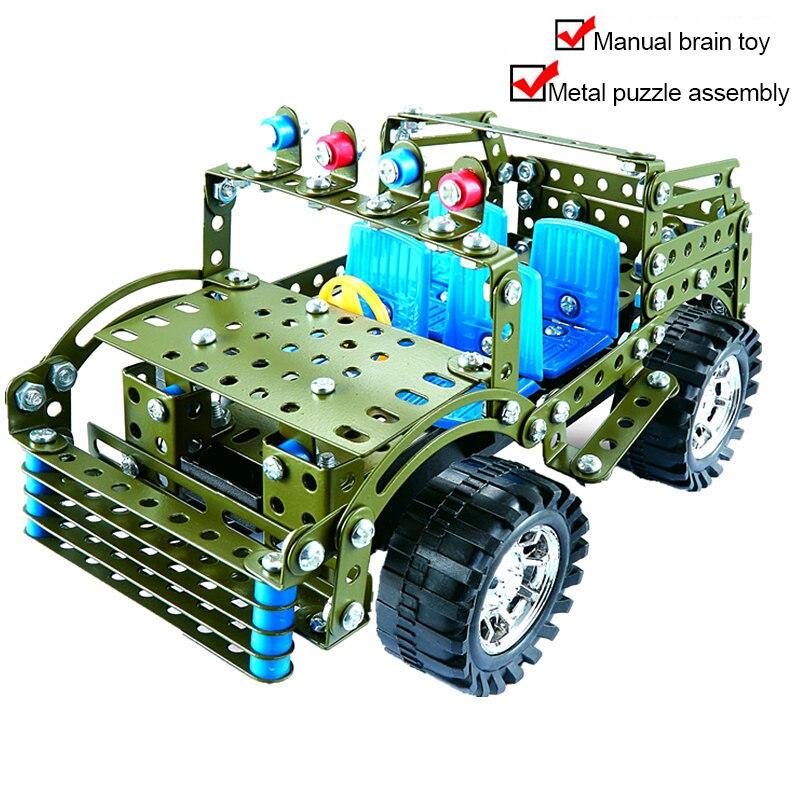 Metal Building Blocks Toys Puzzle Assembling Handmade Diy Creative Gift 3d Metal Jeep Model Assembly Blocks