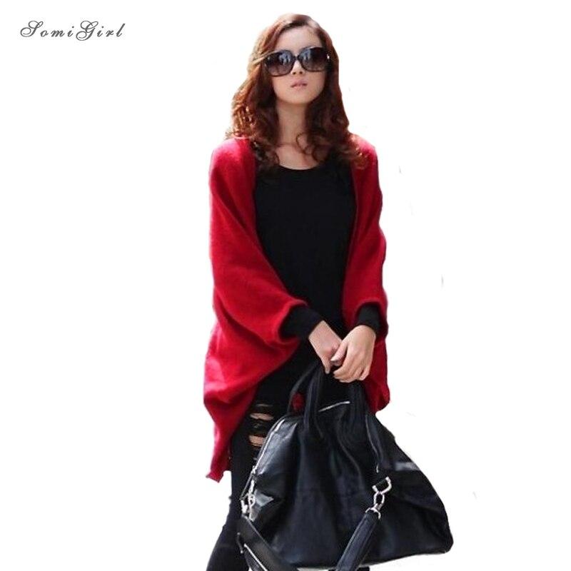 6 Colors 2017 Fashion Women Loose Shawl Batwing Sleeves Lady Knit Sweater Coat Woolen Women Cardigans Jacket Red/Black Free Size