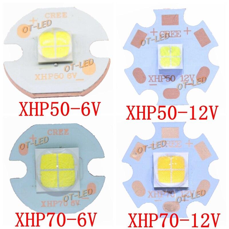 CREE XHP50 XHP70 XHP50.2 XHP70.2 2 generation Cool White Neutral Weiß warme Weiße Led-strahler 6 V 12 V mit 16mm 20mm Kupfer PCB