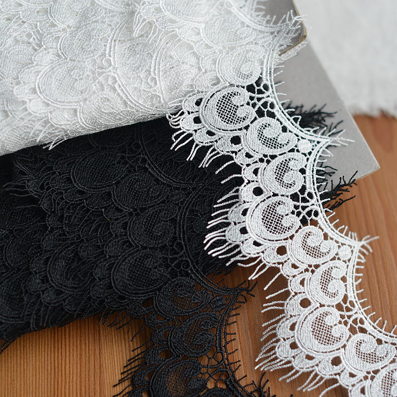 10 meterlots 8cm 3.14 width blackivory fabric embroidery tapes lace trim ribbon G9F1051P181226X