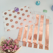 500pcs Assorted Rose Gold Metallic Paper Bags 5 x 7.5 Inch Flat Kraft Foil Polka Dots Stripes Wedding Candy Buffets