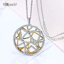 New Arrival Big Round pendant Female 2 Tone Gold and White accessories charm suspension Pretty necklace jewelry for women