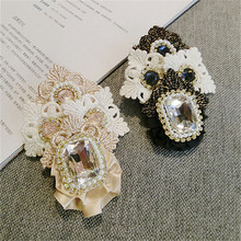 Korea Handmade Vintage Luxurious Lace Rhinestone Flower Badge Brooches Pins Fashion Jewelry Woman Accessories-JQGWBH017E