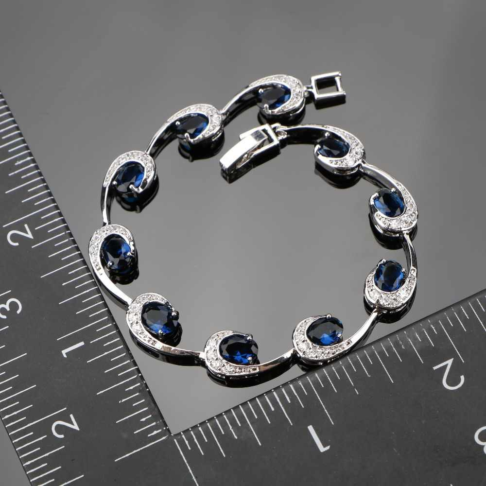 Egg Dark Blue Luxury Cubic Zirconia Silver 925 Bracelets For Women Sterling Silver Jewelry length 18 CM Free Gift Box