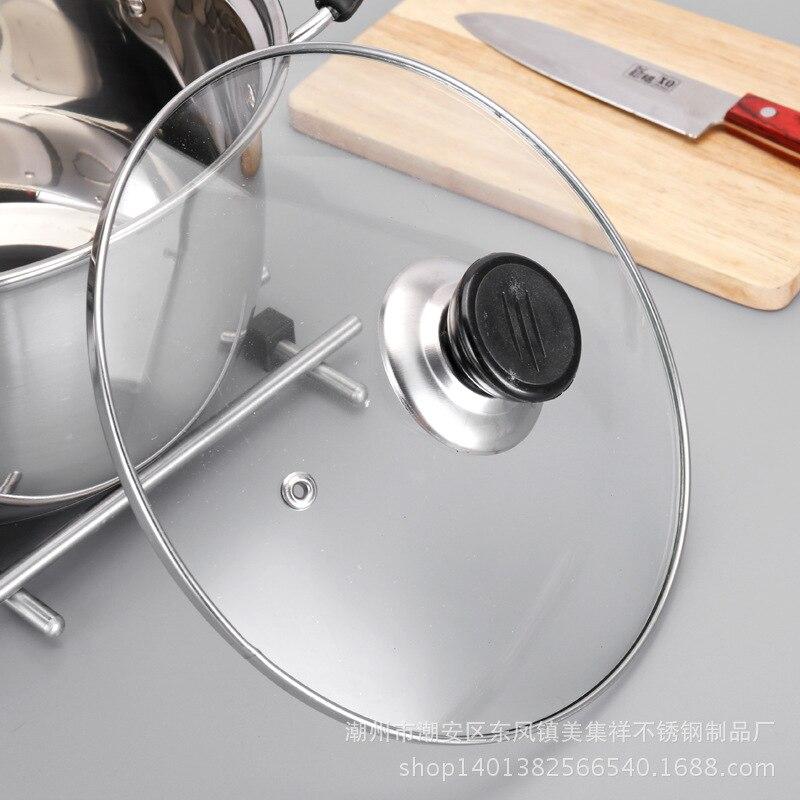 1pcs <font><b>Steel</b></font> pot 1.5L-4L Double Bottom Soup Pot Cooking <font><b>Cookware</b></font> Pan use