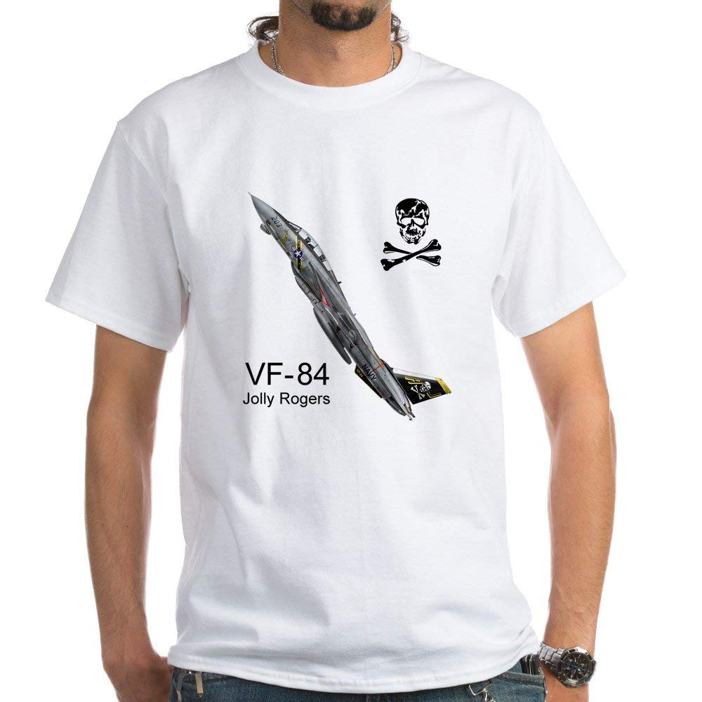 F-14 Tomcat Vf-84 The Jolly R - 100% Cotton T-Shirt, White Wholesale 2019 Hip Hop Brand New Clothing Short Sleeve Button Up