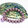 Elegant women bracelet 10mm purple shell simulated-pearl round beads wholesale chain rope elestic fashion jewelry 7.5inch B1713