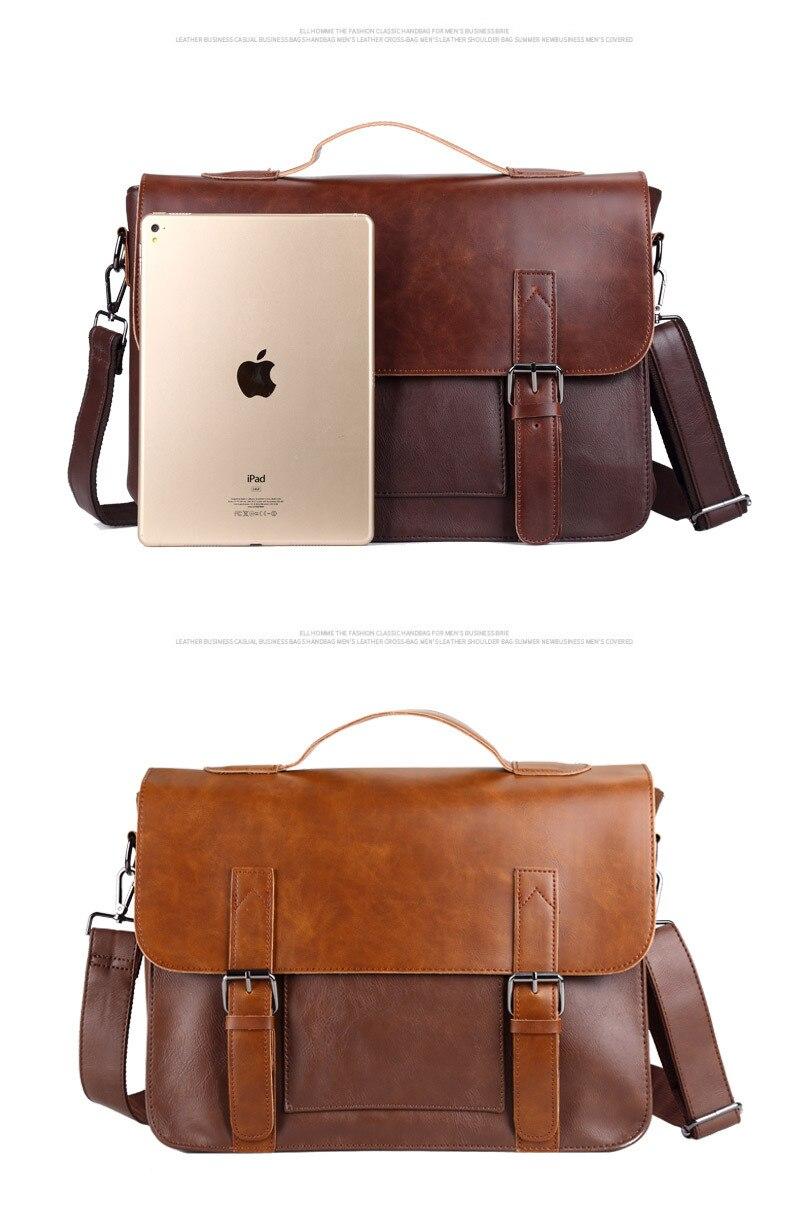Crazy Horse Artificial Leather Business Handbag Laptop Briefcases for Men Leather Casual Men Bag Messenger Shoulder Bags Man