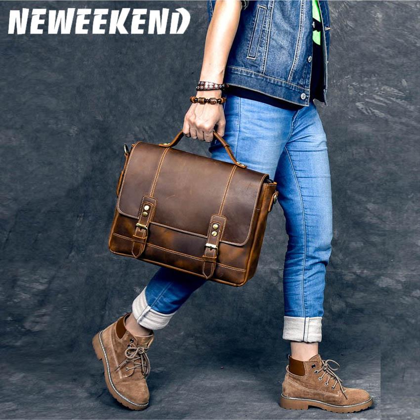 "Men Genuine Leather Antique Retro Business Briefcase 14"" Laptop Case Attache Portfolio Bag One Shoulder Messenger Bag 9090"