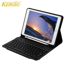 где купить Case For iPad 2018 9.7 Kemile Wireless Bluetooth 3.0 Keyboard W Pencil Holder Auto Sleep Wake Case For ipad 2018 9.7 A1893 A1954 дешево