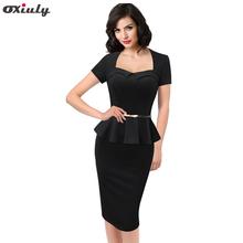 Oxiuly Newest Top Fashion Womens Pinup Vintage Rockabilly Puff Sleeve Shift Party Cute Pencil Bodycon Knee-Length Dress