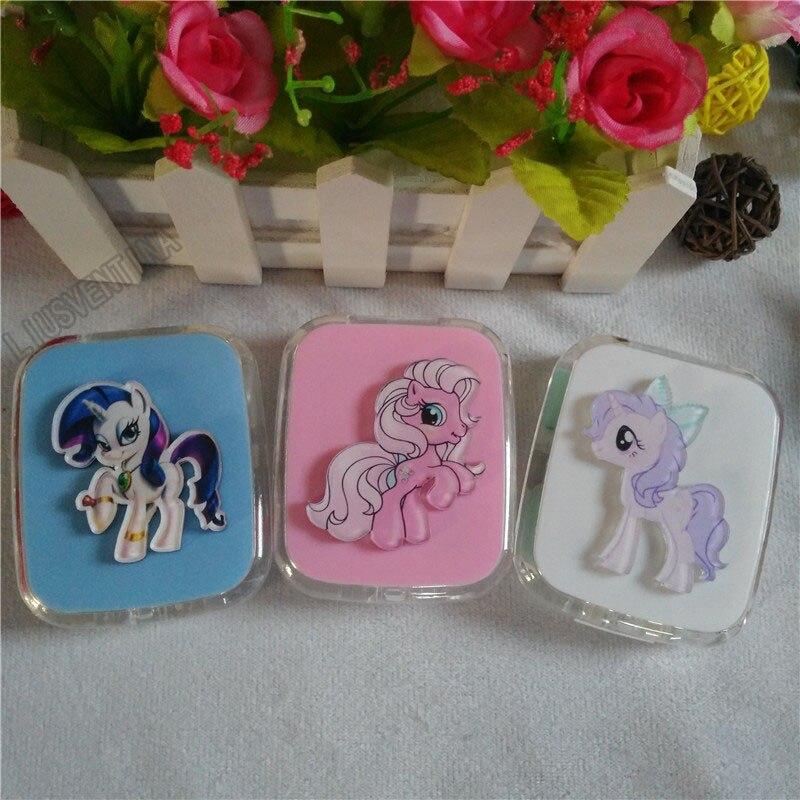 LIUSVENTINA DIY acrylic cute cartoon horse Twilight Sparkle Pinkie Pie Fluttershy contact lens case for lenses box for glasses