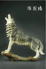 Retro ornaments carved wooden wolf imitation crafts creative home decorations fashion model sculpture souvenirs